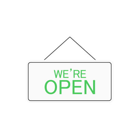 We're open sign symbol. Vector open icon isolated on white