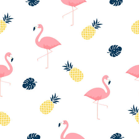 Trendy tropical seamless pattern with pink flamingos, pineapples and monstera leaves on light background. Exotic art design for fabric and wallpaper.
