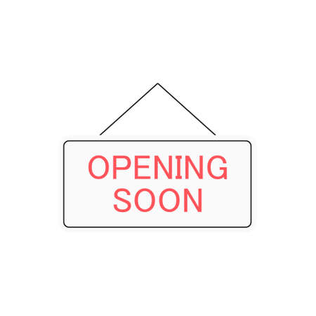 Opening soon sign symbol. Vector opening soon icon isolated on white.