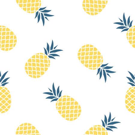 Seamless pineapple pattern vector illustration on white.  イラスト・ベクター素材