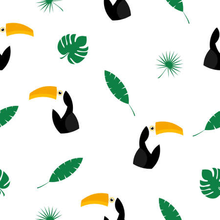 Seamless pattern toucan illustration. Vector background with colorful toucans and tropical leaves.