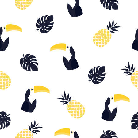 Seamless pattern toucan illustration. Vector background with colorful toucans, pineapples and tropical leaves