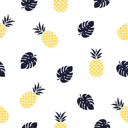 Seamless pineapple with leaves pattern vector illustration on white.
