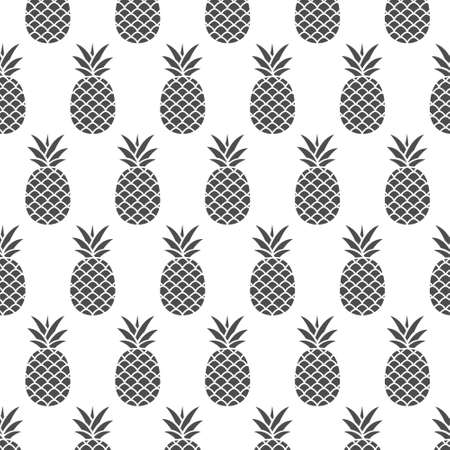 Pattern with isolated black and white pineapples vector background.  イラスト・ベクター素材