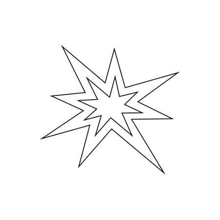 Boom fire line icon isolated on white. Black bursting vector illustration.