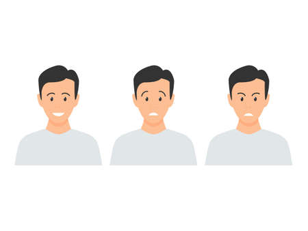 Young male facial emoji set. Happy, sad and angry men emotions collection vector illustration in cartoon style isolated on white.