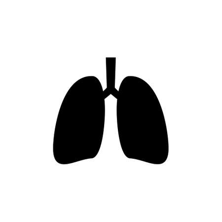 Lungs icon. Human internal organ. Simple black vector illustration isolated on white