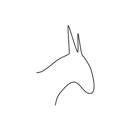 Donkey head line icon. Farm animal continuous line drawn vector illustration. Donkey head symbol.