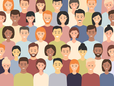 Diverse multicultural group of people standing together (europian, asian, american). Human social diversity crowd vector illustration.