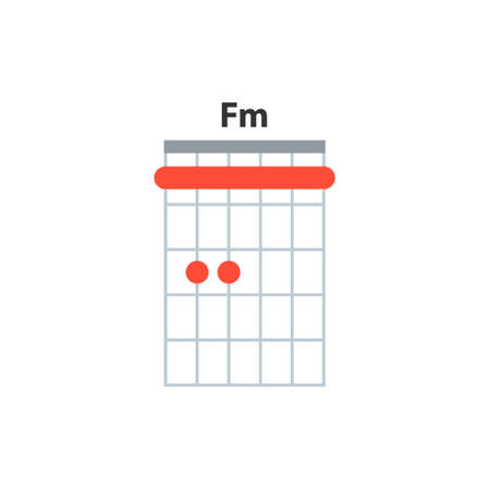Fm guitar chord icon. Basic guitar chords vector isolated on white. Guitar lesson illustration.