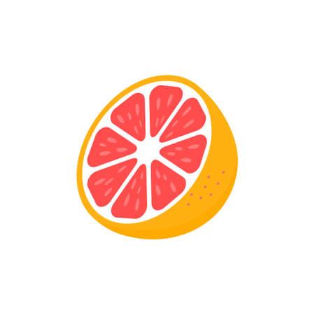 Slice of grapefruit icon. Grapefruit peace vector illustration isolated on white. Tasty sweet fruit symbol.