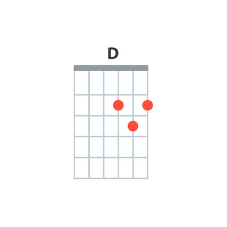 D guitar chord icon. Basic guitar chords vector isolated on white. Guitar lesson illustration. Vector Illustration
