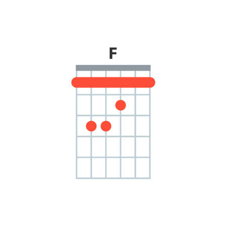 F guitar chord icon. Basic guitar chords vector isolated on white. Guitar lesson illustration. Vector Illustration