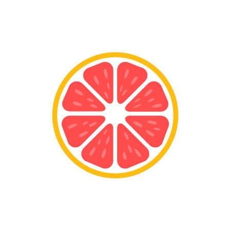 Slice of grapefruit icon. Grapefruit peace vector illustration isolated on white. Tasty sweet fruit symbol. Vector Illustratie