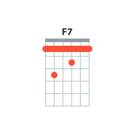 F7 guitar chord icon. Basic guitar chords vector isolated on white. Guitar lesson illustration. 向量圖像