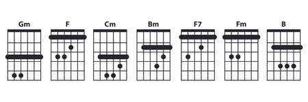 Guitar chords icon set. Guitar lesson vector illustration isolated on white. Basic chords Gm, F, Cm, Bm, Fm, B, F7 collection. Tabulation.