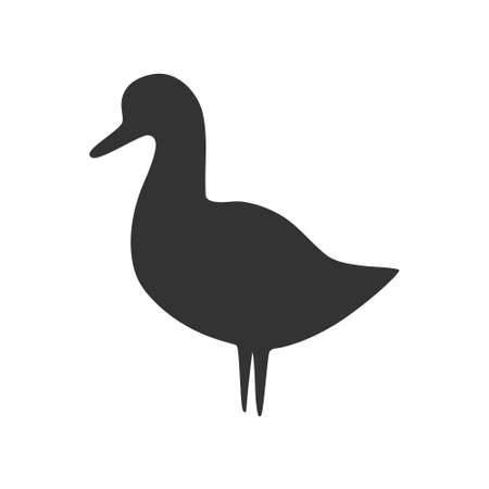 Black duck icon. Farm animal silhouette vector illustration.