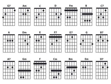 Guitar chords icon set. Guitar lesson vector illustration isolated on white. Basic chords collection. Tabulation. Vektorgrafik