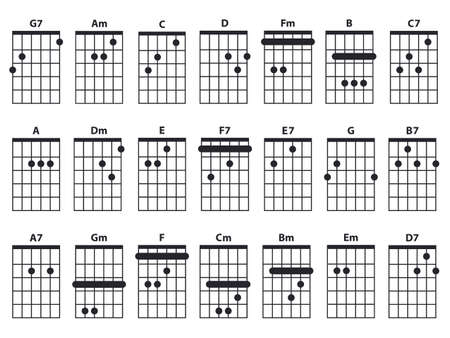 Guitar chords icon set. Guitar lesson vector illustration isolated on white. Basic chords collection. Tabulation. Vector Illustration