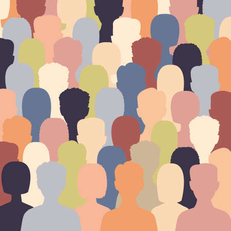 Diverse multicultural group of people standing together (europian, asian, american). Human social diversity crowd vector illustration. Concept of diversity men and women silhouettes.