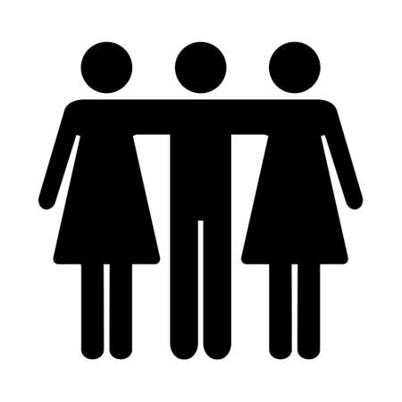 Friends icon. Two women and man embrace each other. Teamwork vector illustration isolated on white. Not traditional family.