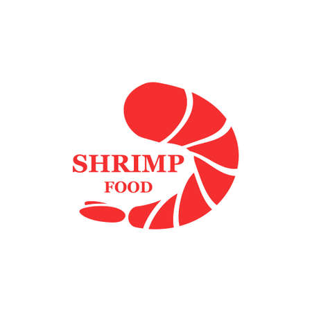 Shrimp icon vector illustration. Fresh sea food element for pizza isolated on white.