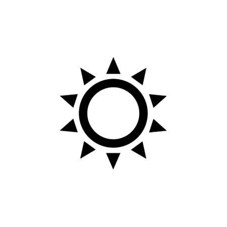 Sun icon. Brightness sun black outline vector illustration isolated on white. Illustration
