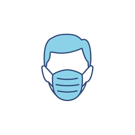 Man head in face mask line blue icon. Protection medical wear from virus, air pollution, flu, dust illustration isolated on white.