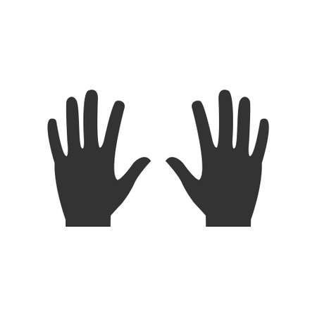 Hands black icon. Human arms with wrist silhouette vector illustration isolated on white.