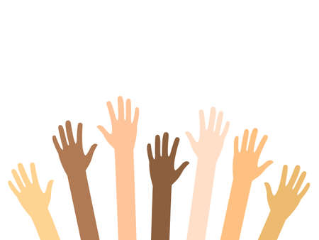 Raised hands of diversity people vector isolated on white. Teamwork and volunteering concept. Charity, crowd, collaboration illustration. Arms up with different skin color. Ilustración de vector