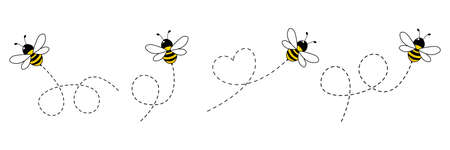 Cartoon bee icon set. Bee flying on a dotted route isolated on the white background. Vector illustration.