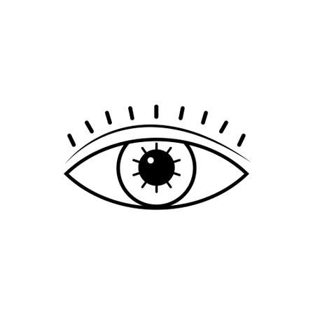 Eye black icon. Occult mystic eye symbol. Esoteric sign. Vector illustration isolated on white.