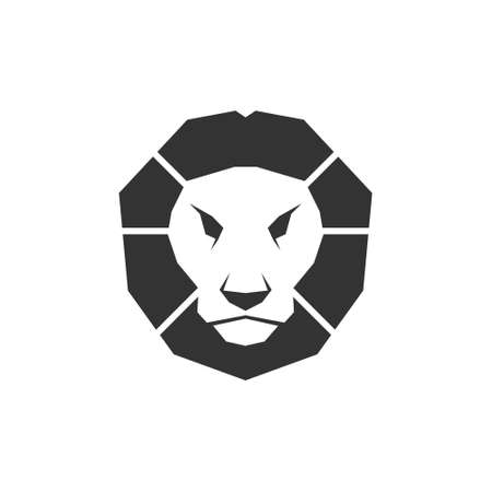 Lion head icon. Black animal vector illustration isolated on the white background