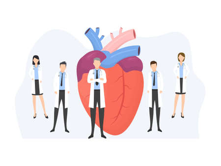 Human color heart shape in flat style vector illustration isolated on white background. Medical poster with human organ and doctors.