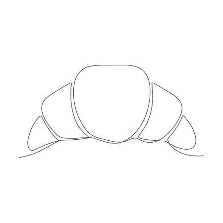 Croissant linear icon. Food continuous one line art vector illustration. Isolated on white Ilustrace