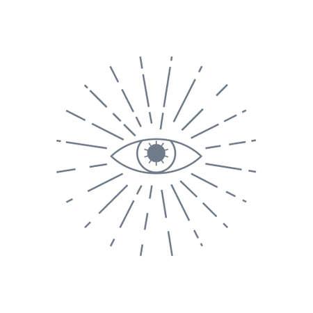 Human world eye with rays. Illuminati . World order symbol all-seeing eye of providence. Masonic Lodge vector illustration isolated on white background Illustration