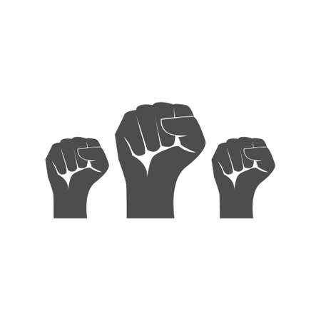 Protest arm set symbol. Fist male hand up vector isolated on white. Power or victory sign. Win and triumph concept. Raised fist outline.