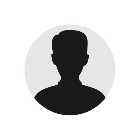 User male icon. Person black symbol in gray circle. Human avatar vector isolated on white. Man profile picture illustration.