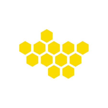 Honeycomb yellow icon set. Sweet food vector isolated on the white background Illustration