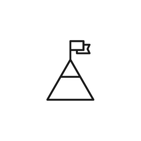 Flag on mountain peak black line icon. Achieve aim vector illustration. Business concept.