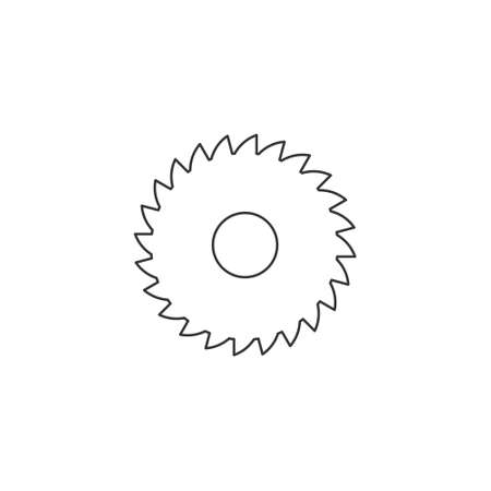 Sawmill line icon. Milling cutter linear symbol. Vector isolated on white.