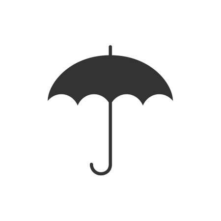 Umbrella black icon. Isolated on white. Stock vector illustration in flat style Ilustracja