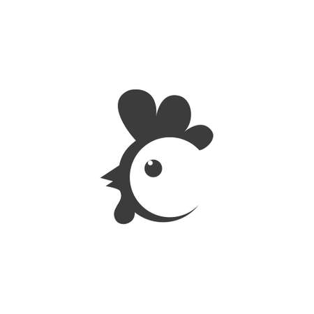 Chicken black icon. Animal head. Farm sign isolated on the white background