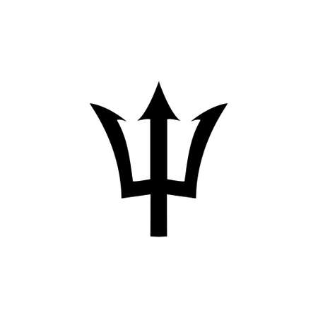 Trident black icon. Neptune sign. Barbados national symbol vector illustration. Isolated on white.
