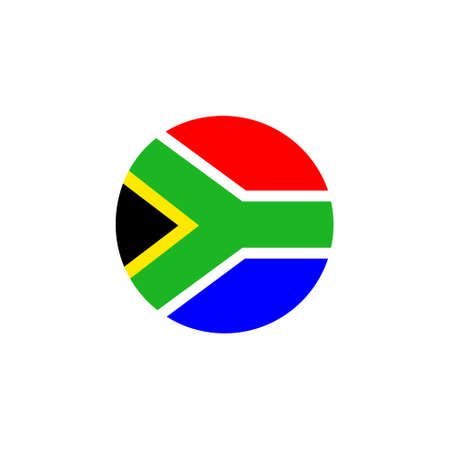 South African round flag icon. National South Africa circular flag vector illustration isolated on white.
