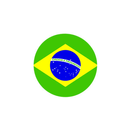 Brazil round flag icon. Brazilian circular symbol vector illustration isolated on white.