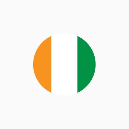 République de Côte d'Ivoire round flag icon. National Ivory Coast circular flag vector illustration isolated on white.
