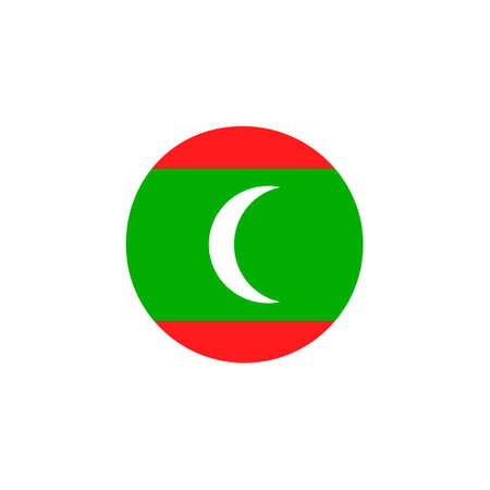 Maldives round flag icon. National Maldivian circular flag vector illustration isolated on white.