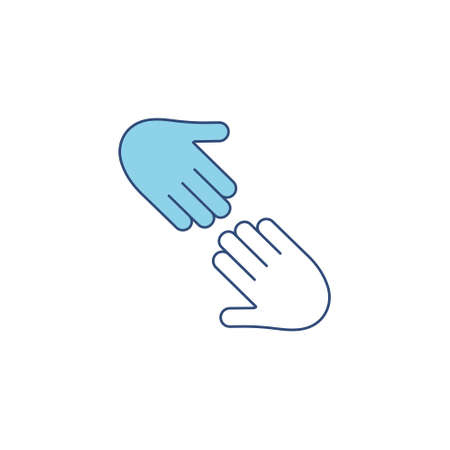 Two outstretched hands icon. Blue arms outline. Help and teamwork concept vector illustration. Voluntary, charity, donation symbol.