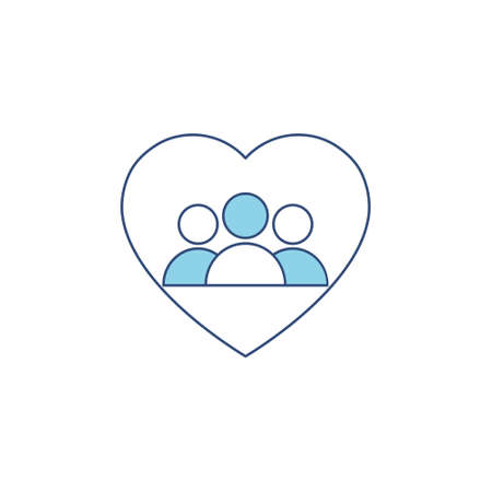 People blue icon in heart. Voluntary vector illustration isolated on white.